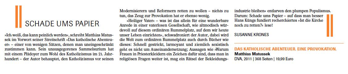 """Susanne Krones, Kurzrezension in """"Münchner Feuilleton"""" 2/2011"""