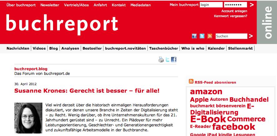 """Susanne Krones, """"Gerecht ist besser"""", in: buchreport, 30.4.2012"""